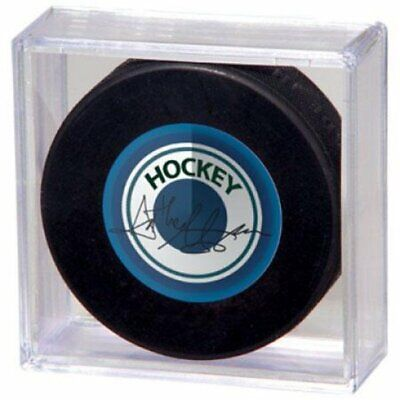 (144) CLEAR SQUARE CUBE NHL HOCKEY PUCK 2 PIECE SNAP DESIGN DISPLAY CASE -