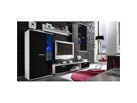 MODERN WALL UNIT SALSA~ENTERTAINMENT UNIT~ HIGH QUALITY TV UNIT, 2x CABINET WARDROBE, HANGING SHELF