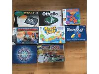 EIGHT BOARD GAMES SOME ELECTRONIC. MONOPOLY, CHESS,MOUSE TRAP, BATTLESHIPS ETC