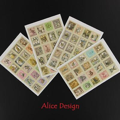 4 Sheets of Vintage sticker stamps Alice in Wonderland for Scrapbooking etc