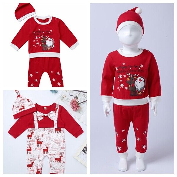 US Baby Girls Christmas Xmas Party Dress Kids Fancy Costume Clothes Outfits 3pcs