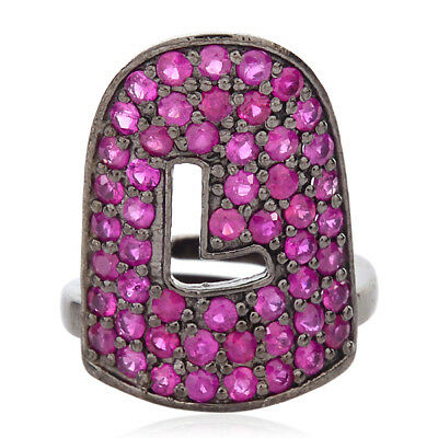 """Used, Vintage Look 1.16 ct Ruby Sterling Silver Initial """"L"""" Nail Ring Handmade Jewelry for sale  Shipping to United States"""