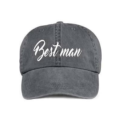 Best Man VINYL PRINT Baseball Style Cap Hat Groom Weddings  Bachelor