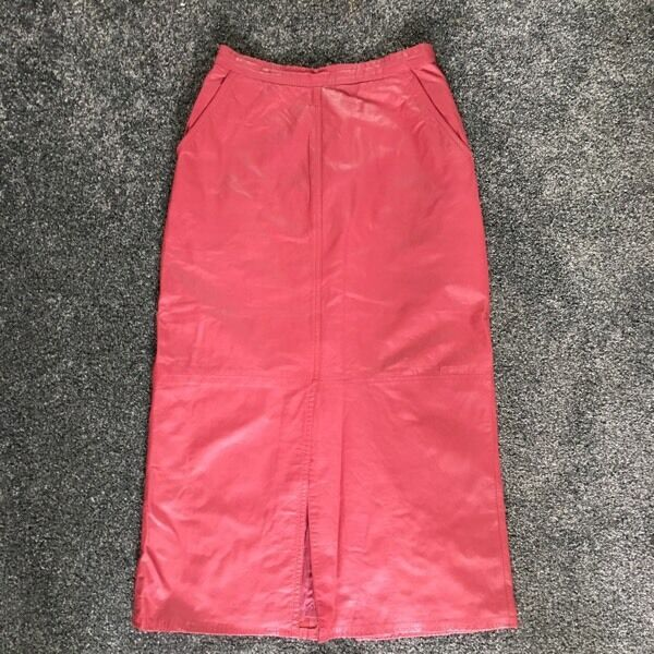 Pink real leather vintage skirt 24 inches