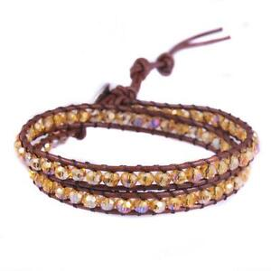 2 Wrap Faceted Austrian Crystal Bead Leather Wrap Bracelet