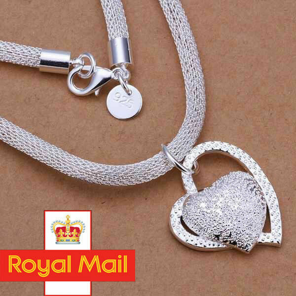 Jewellery - 925 Sterling Silver Double HEART Pendant Necklace Chain Women Jewellery Gift UK