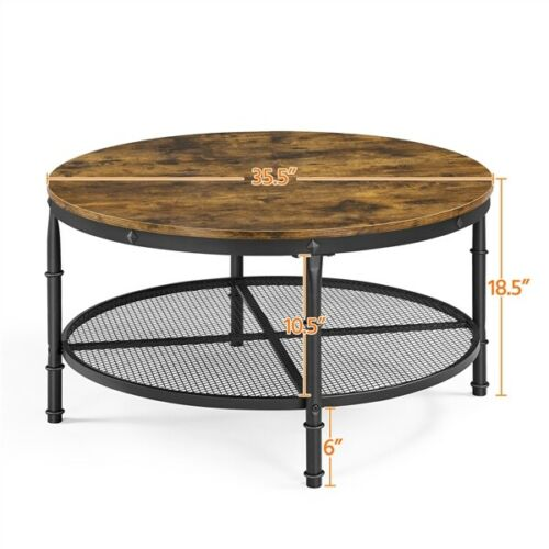 2-Tier Rustic Round Coffee Table Home Furniture w/ Storage Shelf for Living Room 8