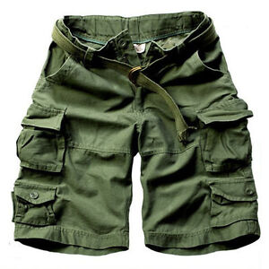 Mens Casual Multi Pockets Cargo Loose Shorts Pants Army Camo Trousers with Belt