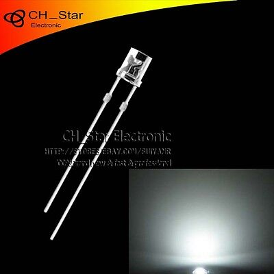 100pcs 3mm Flat Top White Light Led Diodes Wide Angle Water Clear Transparent