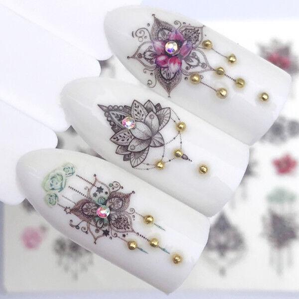 Nail Art Nagel Sticker * Tattoo Nageldesign * Blumen Schmuck Ornamente 3114