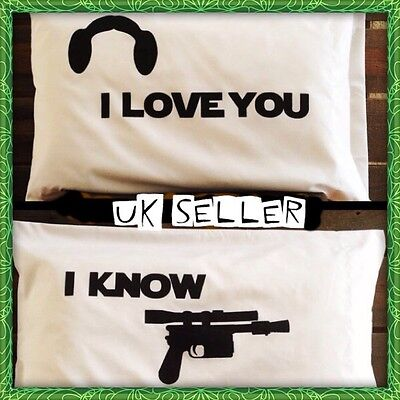 Star Wars I Love You I Know Han Solo Princess Leia Pillow Case Covers Set