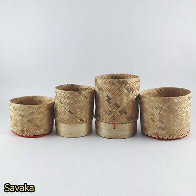 2 Steamer Bamboo Sticky Rice Basket CookWare Kitchen Handmad