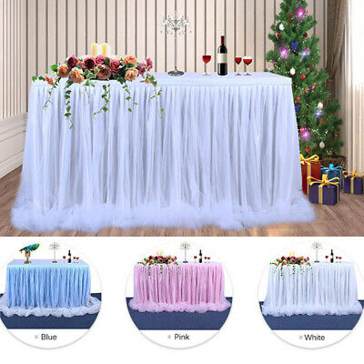 USA Wedding Tulle Tutu Table Skirt Party Birthday Festive Baby Shower Decor 6ft](Tulle Table Skirt)