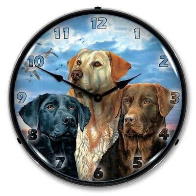 Scot Storm Art Lab Labrador Retriever Dogs Backlit LED Lighted Wall Clock NEW