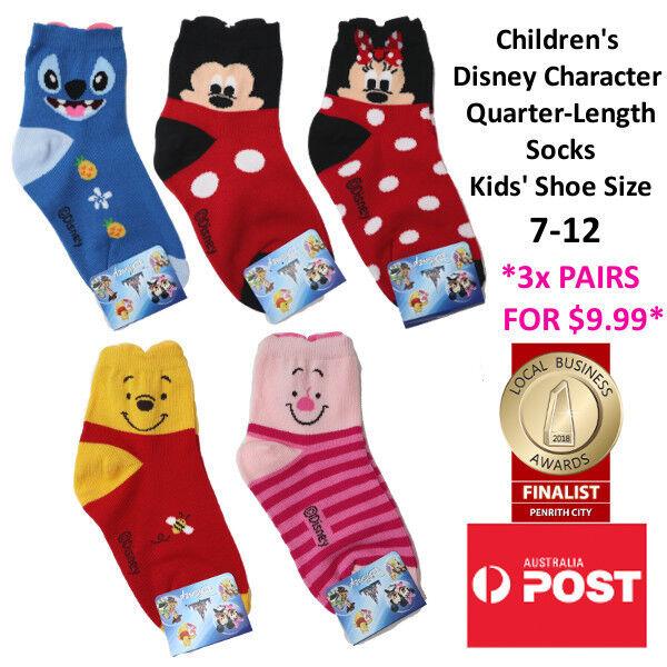 CHILDREN'S Disney Character Quarter Length Socks MADE IN KOR