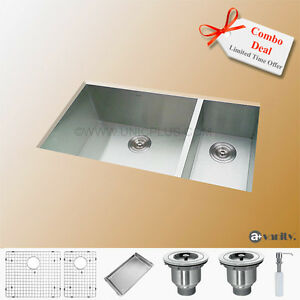 "33"" Contemporary Style Stainless Steel Kitchen Sink 70/30 split"