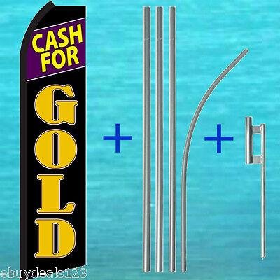 Cash For Gold Flutter Feather Flag 15 Pole Mount Kit Swooper Vertical Banner