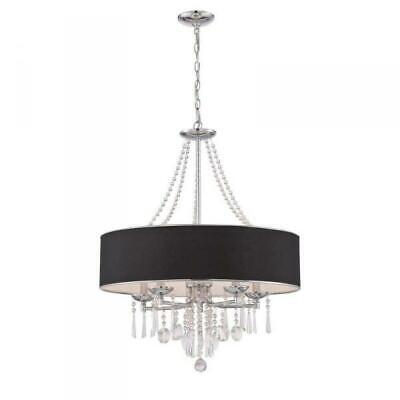 World Imports Elton Collection 5-Light Chrome Pendant with Black Shade WI974808 Collections 5 Light Pendant