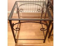 Black iron glass top side table or coffee table