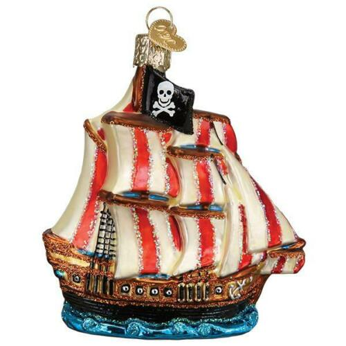 Old World Christmas PIRATE SHIP (46089)N Glass Ornament w/ OWC Box