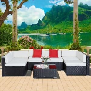 Garden Wicker Sectional Sofa Set with Cushion Patio Outdoor
