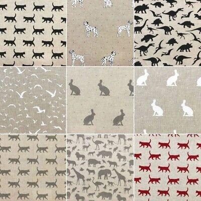 Cotton Rich Linen Look Fabric Dog Cat Rabbit Dinosaur Birds Curtain Upholstery Linen Drapery Fabric