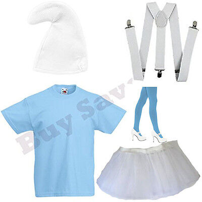 Lady Smurf Costume (LADIES SMURF SMURFETTE T SHIRT BRACES HAT TIGHTS & SKIRT FANCY DRESS)