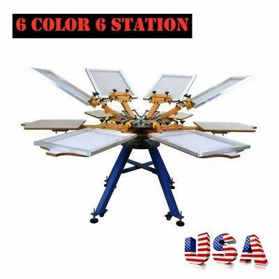 6 Color 6 Station Silk Screen T-shirt Printer Printing Machine Press Carousel-us