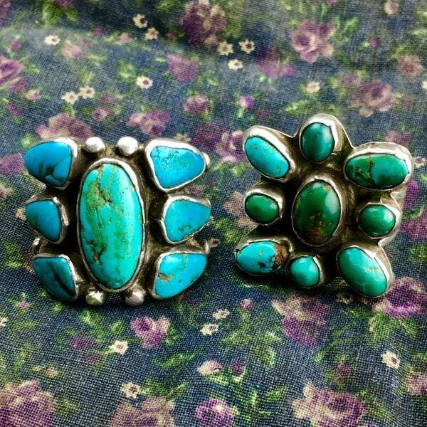 1920s Pawn Navajo Native American Turquoise Silver Ingot Butterfly Cluster Ring
