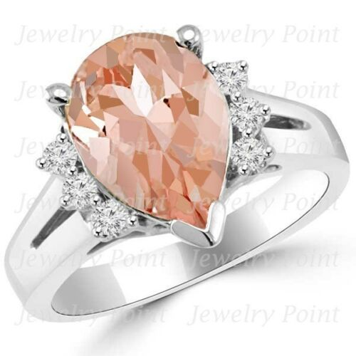 Pear Shape Peach Pink Morganite & Diamond Engagement Bridal Ring 14k White Gold