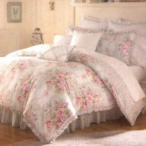 Vintage chic eliza queen comforter 8 pc bedding set shabby for Shabby chic bedspreads comforters