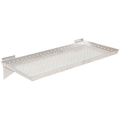 Lot Of 2 New Retails Silver Metal Slatwall Shelf 24w X 10d X 1