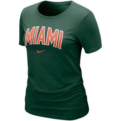 Nike Arch T-shirt - NIKE Miami Hurricanes Women's Arch Crew T-Shirt Green Orange Football Basketball
