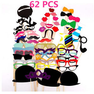62Pcs Photo Booth Props Photobooth Wedding Mustaches Prop Moustaches Lips DIY AU