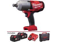 "Milwaukee 3/4"" 5 Ah Fuel Cordless Battery Impact gun"