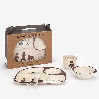 DAILYLIKE - BAMBOO KIDS DINNER SET 02 Grizzly Bear  Foodtray Bowl Cup Spoon Fork