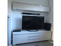 Ikea Besta Burs High Gloss Tv Stand/Bench and Wall Unit/Cabinet