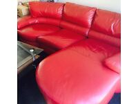 Leather DFS L shape corner sofas swivel on end