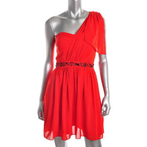 Jessica Simpson NEW Red Beaded One Shoulder Party Cocktail Dress