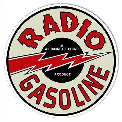 Reproduction Radio Gasoline Motor Oil Metal Sign 14 Round