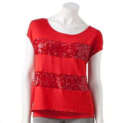 Women Girl Dazzling Striped Sequin Embellished Top Mock-Layered T-shirt Tank Top ()
