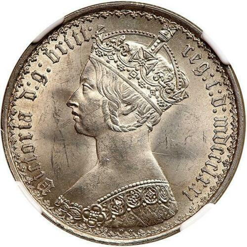 GREAT BRITAIN, VICTORIA GOTHIC FLORIN, SILVER, 1871 NGC MS64