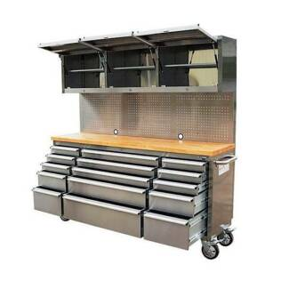 1.8M Stainless Steel Workbench Tool Chest Trolley Combo