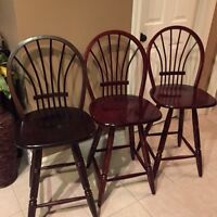 3 arched wooden bar stool chairs - cherry colour, solid wood