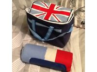 Union Jack cool bag and matching waterproof picnic blanket.
