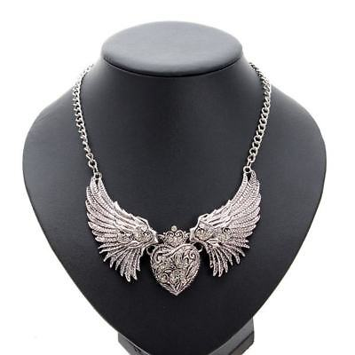 Austrian crystal LARGE ANGEL WING HEART SILVER CHOKER necklace mom mother women Austrian Crystal Angel Necklace