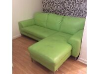 Lime Green DFS Leather Chaise Lounge Sofa £250