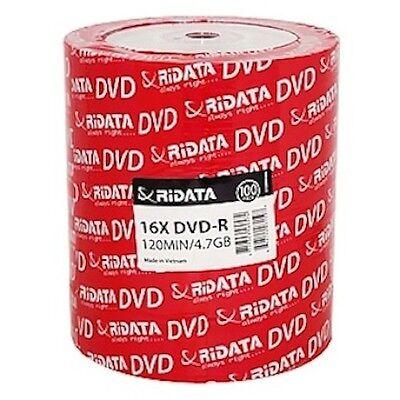 100 Ritek Ridata Branded 16X Logo Top DVD-R DVDR Blank Disc Media 4.7GB