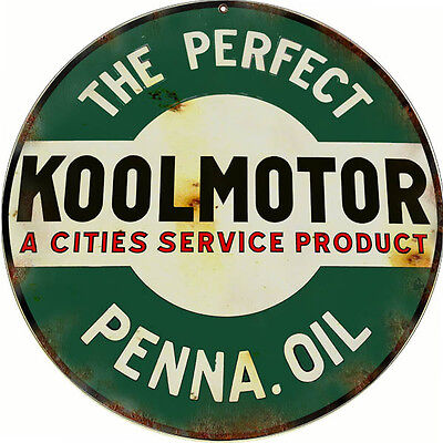 Reproduction Koolmotor Penna Oil Sign 14 Round