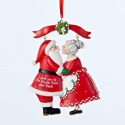 NEW Kurt Adler 3.75 Mr. and Mrs. Claus Kissing Christmas Ornament C8800